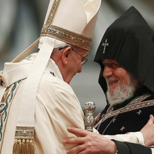 POPE FRANCIS EMBRACES CATHOLICOS KAREKIN II, PATRIARCH OF THE ARMENIAN APOSTOLIC CHURCH, DURING A 2015 MASS IN ST. PETER'S BASILICA AT THE VATICAN TO MARK THE 100TH ANNIVERSARY OF THE ARMENIAN GENOCIDE. ECUMENICAL RELATIONS, THE MEMORY OF PAST SUFFERING AND PRAYERS FOR A FUTURE OF PEACE FORM THE FRAMEWORK FOR POPE FRANCIS' ITINERARY WHEN HE VISITS ARMENIA JUNE 24-26. / PHOTO: CNS PHOTO/TONY GENTILE, REUTERS