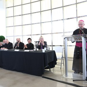 Bishop Kevin Vann announces plans for a new shrine to Our Lady of La Vang. / Photo: Challenge Roddie
