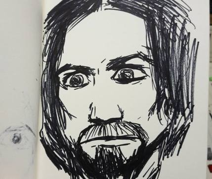 One of Joel Clapp's initial sketches of Yute, based on Charles Manson