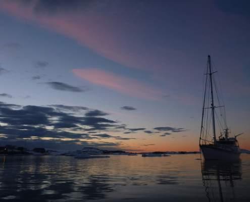 Antarctic sunset yacht Australis