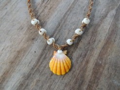 Ocean Tuff Jewelry - Kauai Sunrise Shell Necklace with Puka Shell Accents