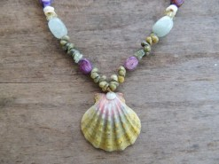 Ocean Tuff Jewelry - Sunrise Shell Mongo Shell & Gemstone Necklace