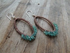 Ocean Tuff Jewelry - Apatite Chip Woven Hoop Earrings