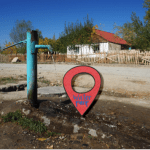 Water pump in Kazybek, Kyrgyzstan: Indicating the location of water-related landmarks.