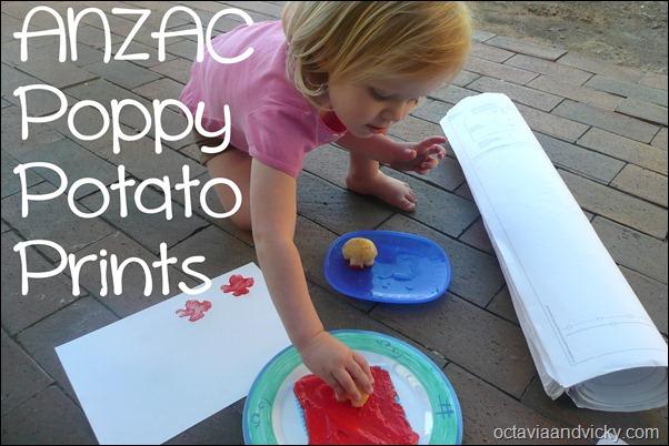 ANZAC Poppy Potato Prints