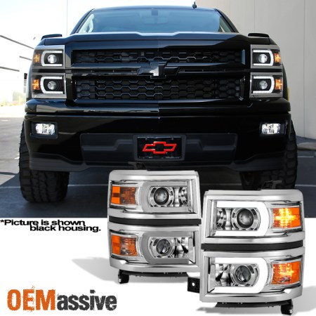 Fit 2014 2015 Chevy Silverado 1500 LED DRL U Neon Bar Style     Image is loading Fit 2014 2015 Chevy Silverado 1500 LED DRL