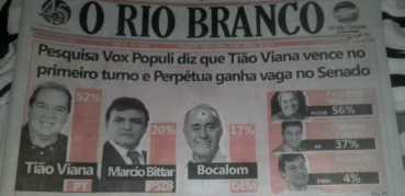 Vox Populi: Tião Viana (54%), Bittar (20%) e Bocalon (18%)