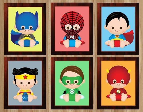 Baby superhero art by MyBabyShowerDesigns via Etsy.