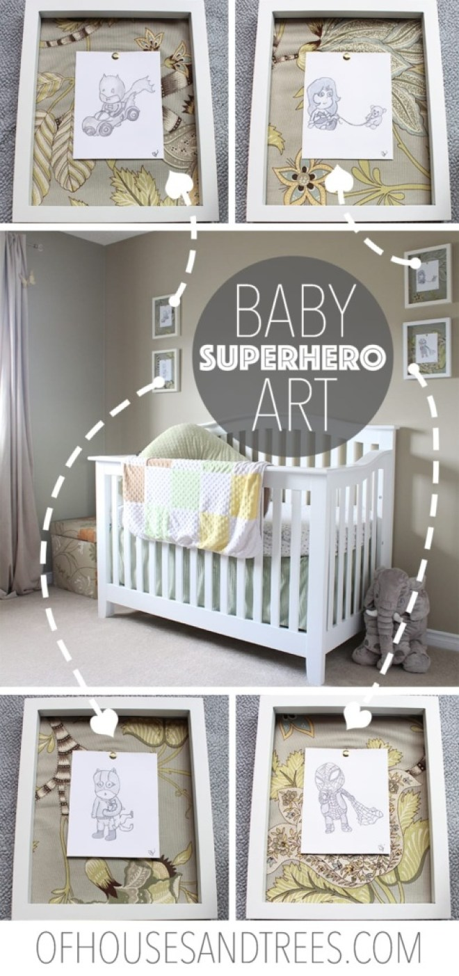 Want gender neutral, but still unique and quirky nursery decor for your upcoming bundle's bedroom? Check out this hand drawn baby superhero art. Kapow!