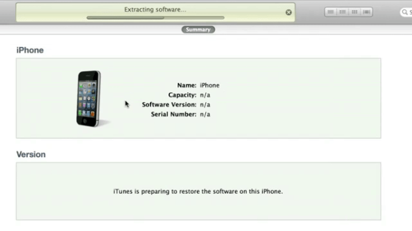 Restoring iPhone via iTunes