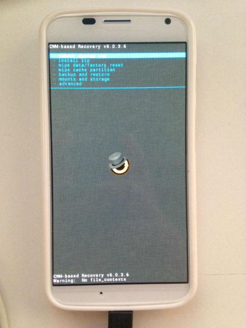 ClockworkMod Recovery Mode on Moto X