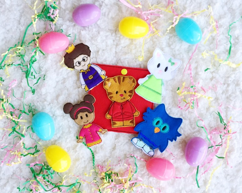 easter basket for toddler and baby, easter basket, handmade toys, daniel tiger, daniel tiger toys, finger puppets, etsy, hallmark itty bitty, target