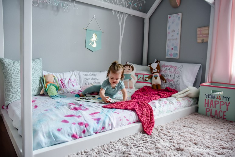 toddler room, baby room, nursery, girl room, boy room, floor bed, montessori floor bed, kids decor, kids dream room, toddler bed, kids bed, house frame bed, teepee, kids fort, playroom, kids playroom, dream playroom