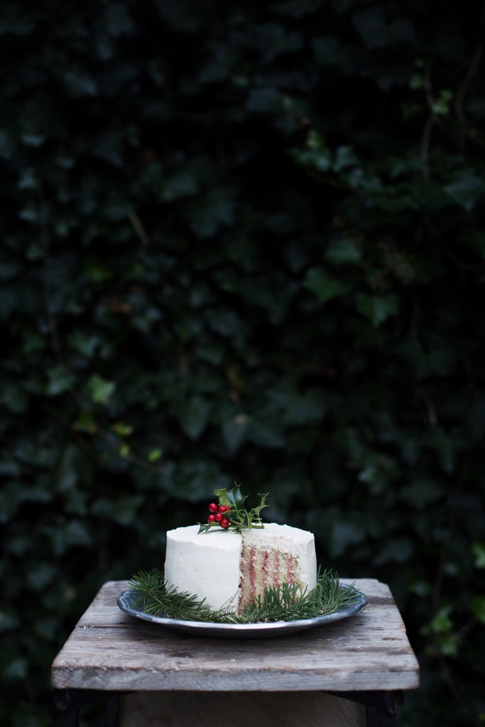 cranberry, vanilla bean and eggnog roll cake // ohhoneybakes.com