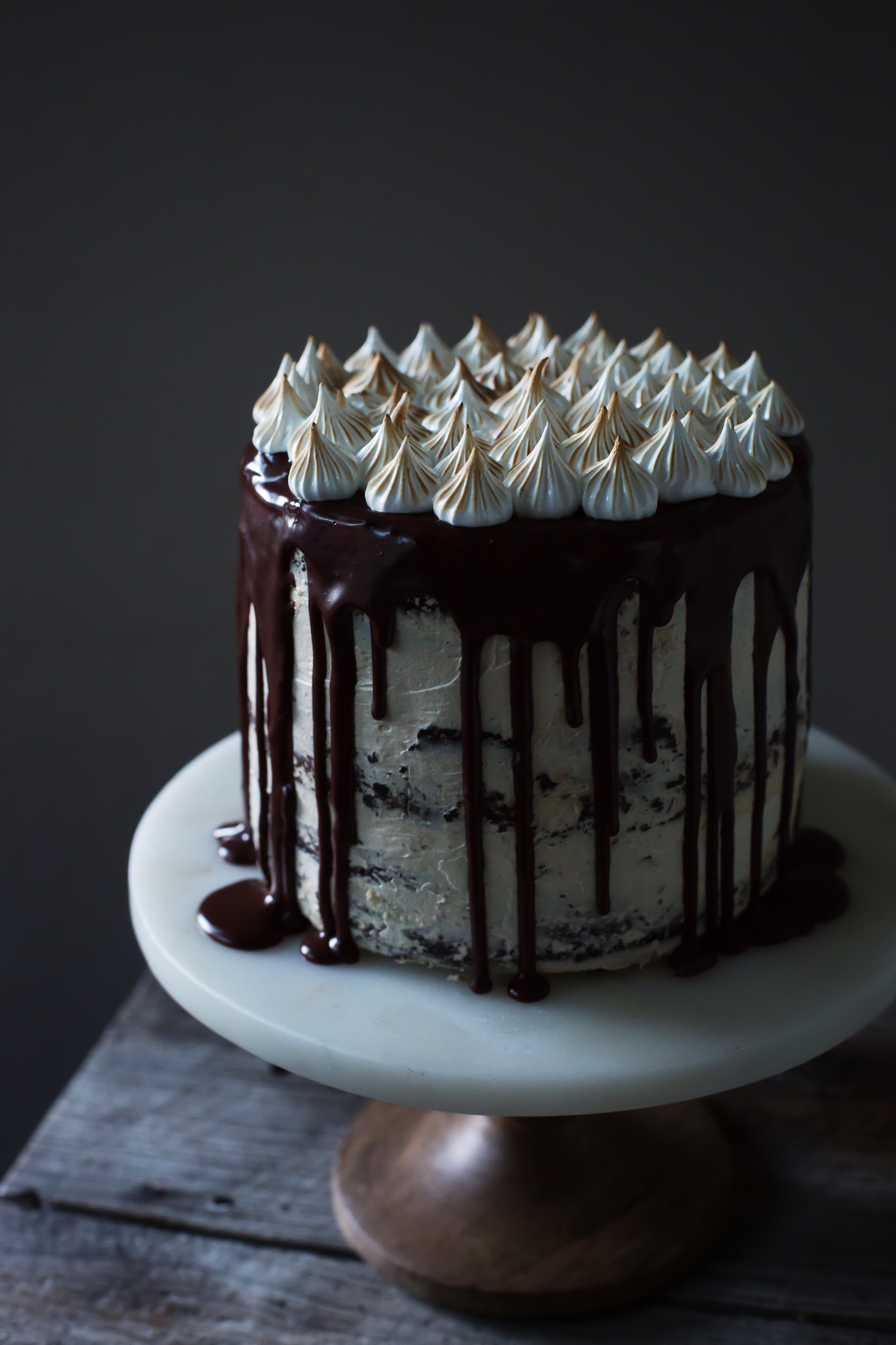 chocolate stout cake with speculoos and torched meringue - oh ...