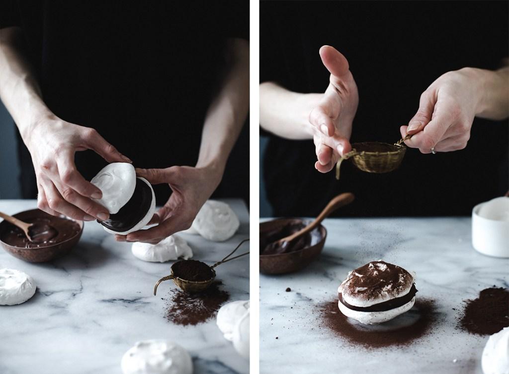 vanilla meringues with dark chocolate ganache // ohhoneybakes.com