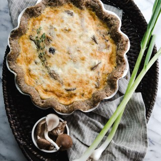mushroom and green garlic quiche with buckwheat crust (gluten-free)