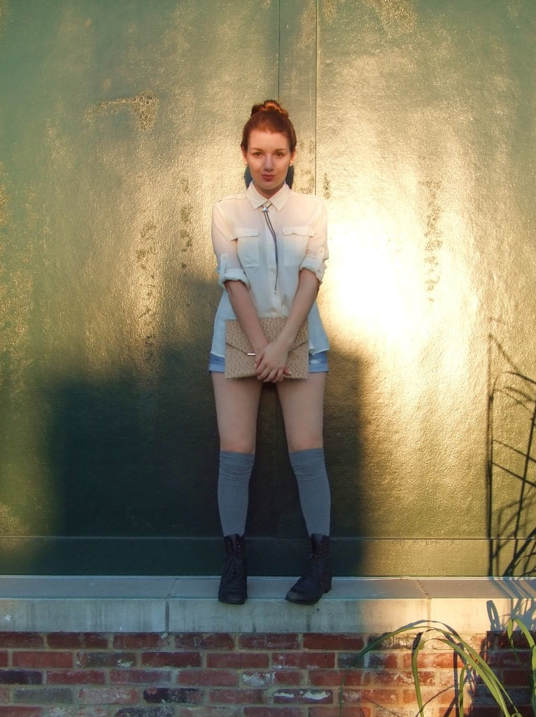 Bolo Tie Necklace with Cut Offs and Cream Blouse (1)
