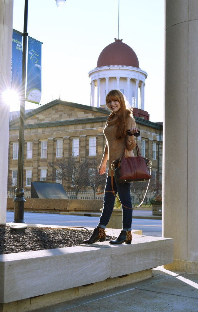Outfit - Cowl Neck Sweatshirt Tunic with Naturalizer Leopard Booties and Anthropologie Satchel (4)