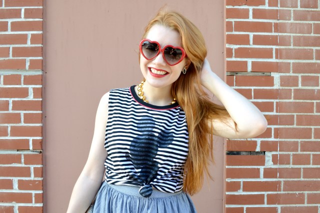 Oh Julia Ann - Mickey Stripe Tank and Circle Midi Skirt Outfit (6)
