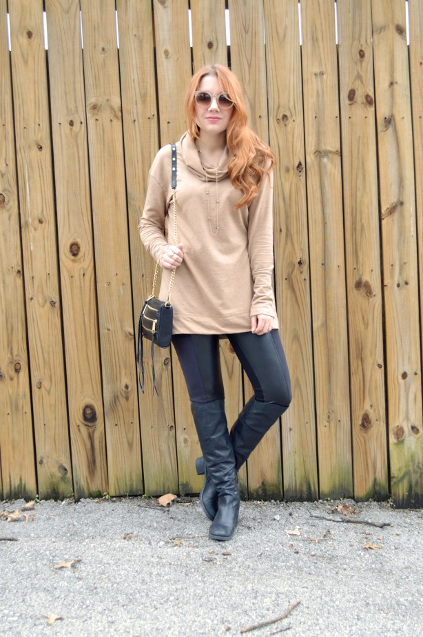 Nygard Slims Pleather Leggings with Rebecca Minkoff Crossbody Purse and Pullover - Winter Outfit - Oh Julia Ann (1)