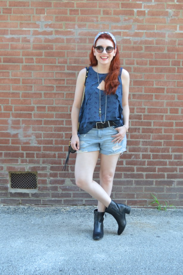 Oh Julia Ann Summer Outfit - Shorts Cut Out Free People Tank Collectios by Joya Naturalizer Booties Boho Headband Long Red Hair (2)