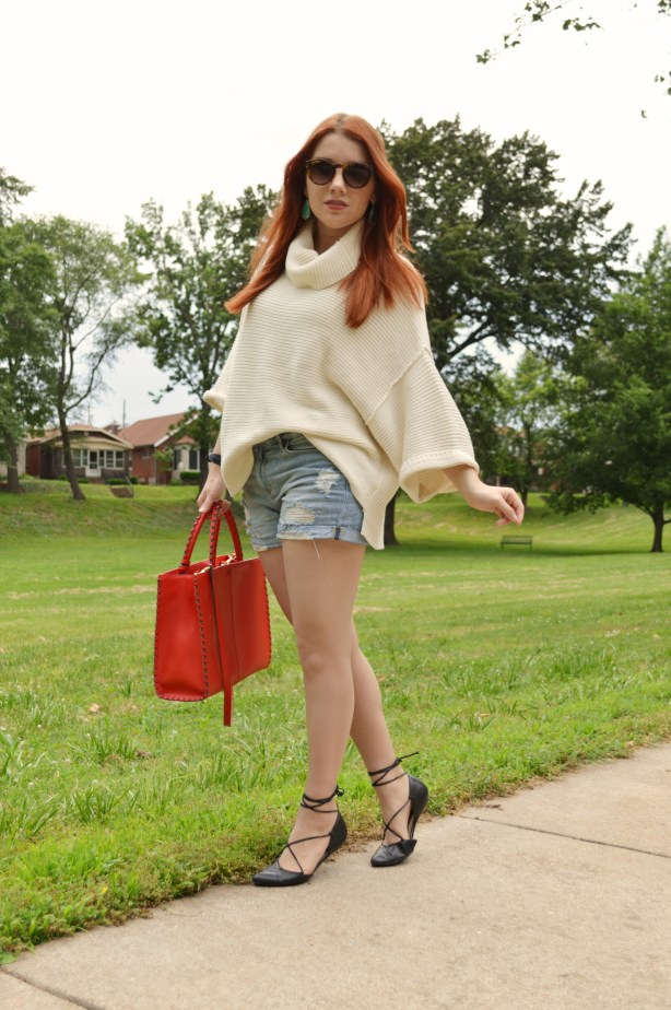 Oh Julia Ann Summer Outfit that Transitions to Fall - Free People Turtleneck Pullover Sweater with Denim Cut Off Shorts, Kendra Scott Caroline Earrings, Lace Up Flats  (1 (1)