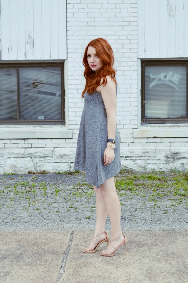 Summer Outfit Idea - Anthropologie Grey Tank Dress with Nude Strappy Heels - Oh, Julia Ann (3)