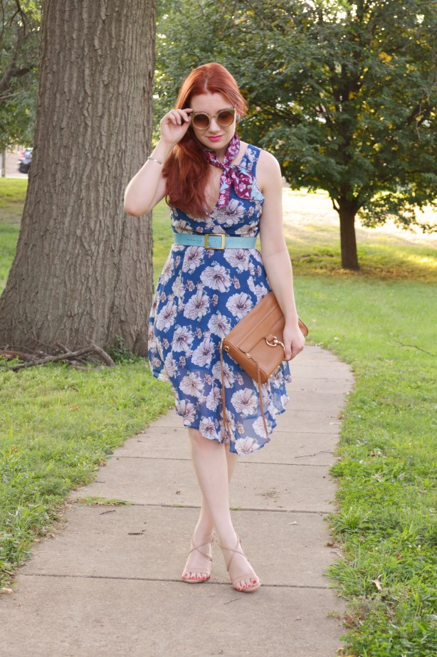 Floral ASTR Dress with Patterened Vintage Neck Scarf and Rebecca Minkoff MAC Crossbody Purse - Summer Outfit by Oh Julia Ann (2)