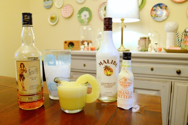 National Rum Day Cocktail - Spiced Sailor Jerry Rum with Malibu Coconut Rum and Blended Pineapple Recipe - Oh Julia Ann (1)