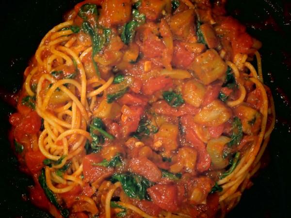 2013105 eggplant spinach pasta12