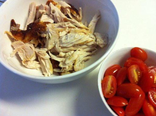 Roasted chicken and halved cherry tomatoes