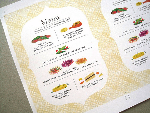 Modern Illustrated Wedding Menu Custom Illustrated Wedding Menus