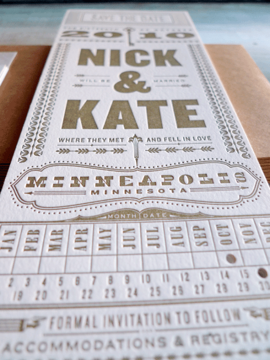 Vertical Letterpress Save the Dates1 550x733 Kate + Nicks Typography Save the Dates