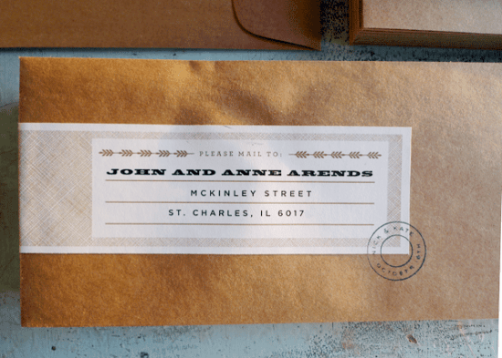Vertical Typography Letterpress Save the Date Labels 550x393 Kate + Nicks Typography Save the Dates