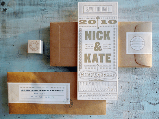 Vertical Typography Letterpress Save the Dates 550x412 Kate + Nicks Typography Save the Dates
