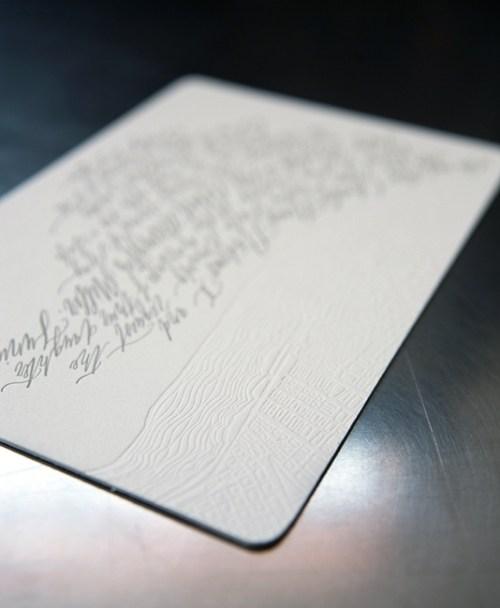 Betsy Dunlap Calligraphy Letterpress Wedding Invitations Texture 500x608 Riley + Roberts Modern Calligraphy Wedding Invitations