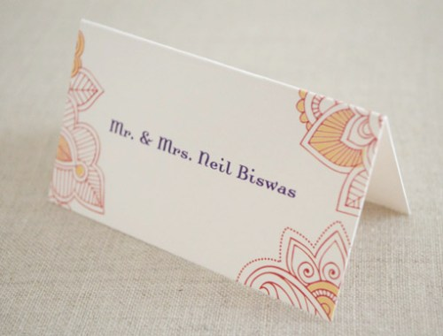 Hindu Wedding Stationery Place Cards 500x380 Hindu Wedding Stationery