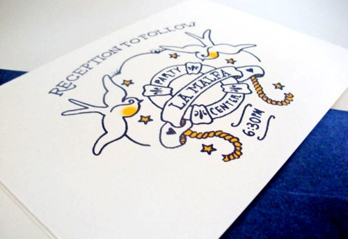 Jessica Jared Sailor Tattoo Wedding Invitations Reception Card 500x343 Sailor Tattoo Inspired Wedding Invitations