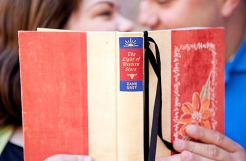 final hardcover book wedding invitation 500x327 Kristy + Adams Vintage Book Invitations