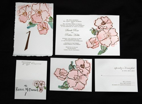 garden rose suite 500x365 Hand Painted Watercolor Vintage Garden Rose Invitation Suite