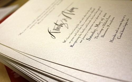 invitation calligraphy text 500x314 Kristy + Adams Vintage Book Invitations