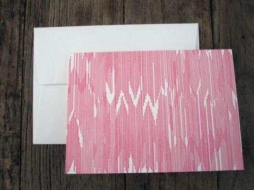 pink letterpress ikat cards 500x375 Bow + Arrow
