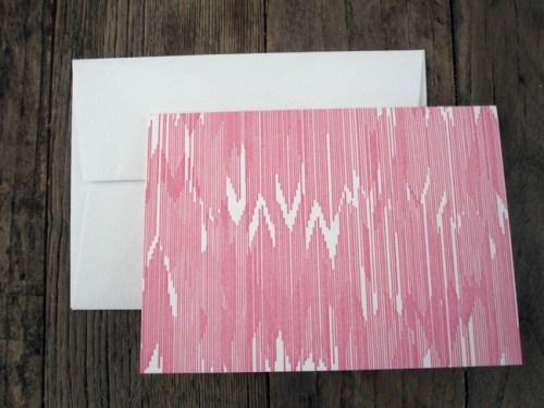 pink letterpress ikat cards 500x375 Bow + Arrow