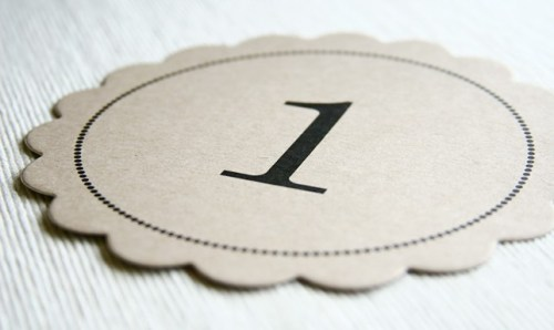 scallop kraft paper wedding table numbers 500x298 Scallop Table Numbers