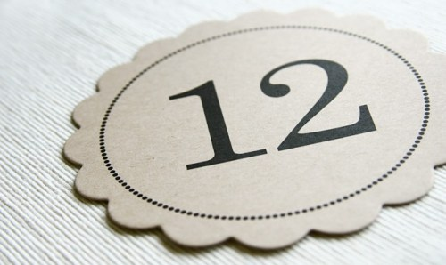 scallop kraft paper wedding table numbers2 500x298 Scallop Table Numbers