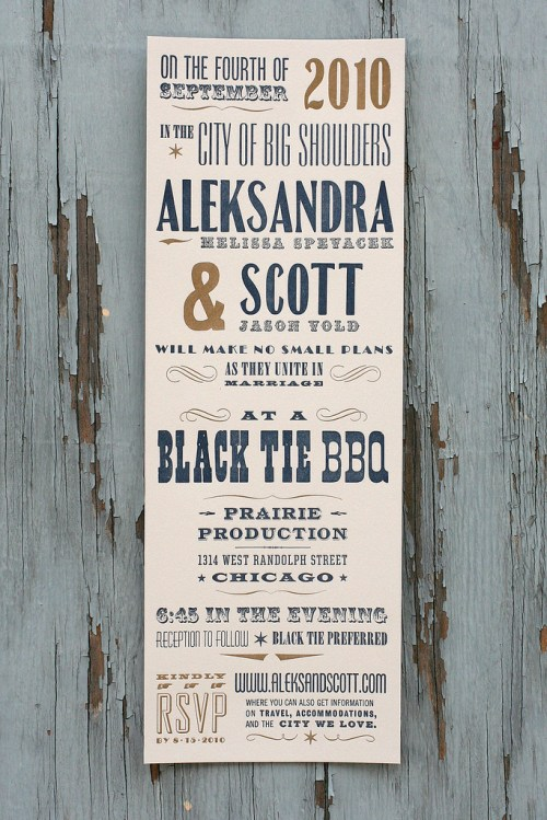 starshaped press vintage type poster wedding invitations 500x749 Aleksandra + Scotts Antique Wood Type Poster Wedding Invitations