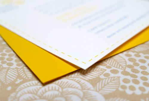 Jeremy Jennifer Yellow Blue Canoe Invitations Detail Stitching 499x340 Jeremy + Jennifers Yellow and Blue Modern Floral Wedding Invitations