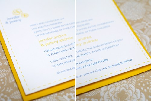 Jeremy Jennifer Yellow Blue Invitations Text 500x333 Jeremy + Jennifers Yellow and Blue Modern Floral Wedding Invitations