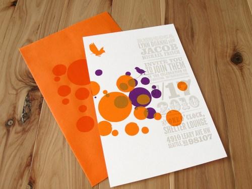 Orange Purple Letterpress Wedding Invitations 500x375 Circus Poster Inspired Wedding Invitations